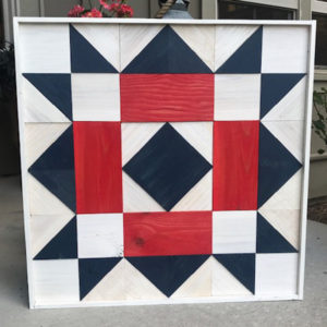 Wooden Quilt Block - White Frame