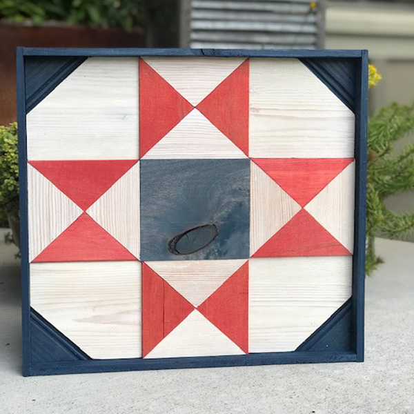 Wooden Quilt Block - Blue Frame and Center Square