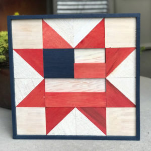 Wooden Quilt Block - Red White and Blue Flag