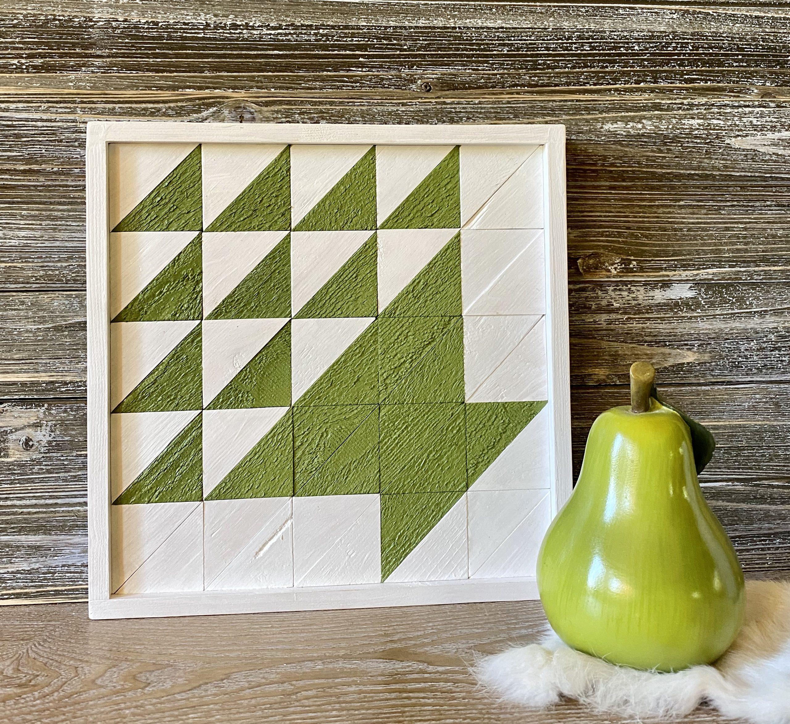 Apple Green Basket Wooden Quilt Block